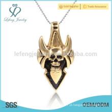 Estilo programável banhado a ouro pingente de aço inoxidável, pingente de logotipo personalizado crânio