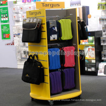 Knock Down Slatwall Wood Retail Showroom Display Furniture Movable Metal Hook Backpack Bag Display Stand