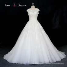 XW6686 lace wedding dress sleeves crop top lace appliques long train wedding dress