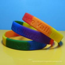 Rainbow color silicone wristbands, Segmented silicone bracelet, LGBTQ pride rubber bracelet