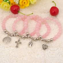 Natural Rose Quartz Bracelet Gemstonejewelry alloy pendants