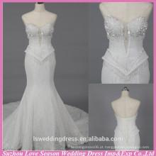 WD6027 Qualidade tecido pesado artesanato qualidade de exportação sereia sexy vestido de noiva sem alças vestido de noiva com cristais de cristal floral