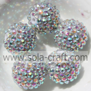 Resin Beads 18*20MM Hot Sale With Silver AB Rhinestone For DIY Bracelets