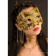 Máscara de fiesta de carnaval de adultos en negro / oro máscara de sexo al por mayor