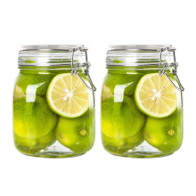960ml 32oz wide mouth square Glass Clip Top Mason jars glass jar with hinged Sealed Airtight lid