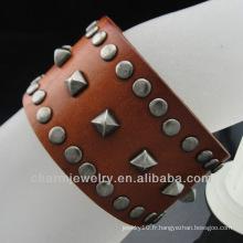 Bracelet en cuir véritable en cuir triple et en maille gothique Fermeture en boucle BGL-007