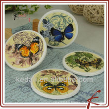 Butterfly Design Wholesale Coasters en céramique en céramique en porcelaine