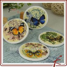Design de borboleta por atacado cerâmica porcelana Copa Coasters