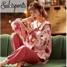 Женские милые высококачественные хлопковые пижамы с длинными рукавами, роскошные женские пижамы для девочек