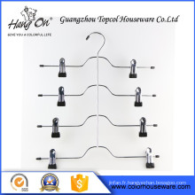 Hard Drawing purple clip Wire Hanger , Black Wire Hanger With Clips