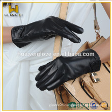 Classic Top soft Leather Women Leather Gloves with custom button logo