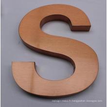 Signe de lettre en métal en acier inoxydable plaqué or rose de haute qualité pour la publicité