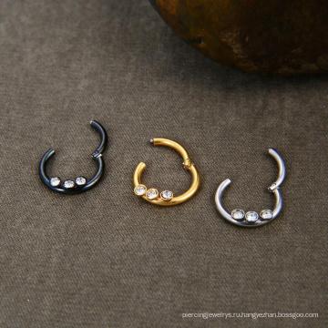 16 г Хирургическая сталь 316L Кристалл сегментное кольцо Кликер Пирсинг