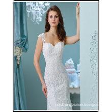 Alibaba New Spaghetti Trap Floor-Length Mermaid Stock High Quality Fully Beaded Lace Wedding Dress