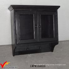 Gabinete de parede de madeira pequeno de armazenamento de vidro preto com portas de vidro