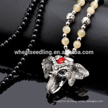 Cadena larga cuentas de rosario de diamantes de varios diseño de elefante muñeca perla collar colgante