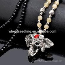 Longa cadeia rosário contas de diamantes vários design elefante pérola boneca pingente colar