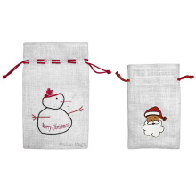 Christmas Jute Drawstring Bag (JDB-3)