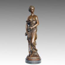 Escultura de jardín femenina de bronce ropa Lady Art figura estatua de latón TPE-548