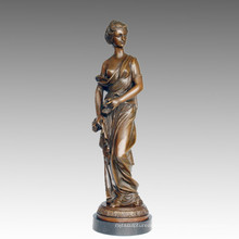 Female Bronze Garden Sculpture Clothes Lady Art Figure Brass Statue TPE-548