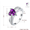 Wholesales 925 Silver Heart Ring Jewelry Purple CZ