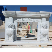 Hot Selling Natural Stone Marble Fireplace Carved Lions (SY-MF152)