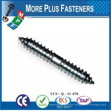Made in Taiwan Double Ended Wood to Wood Dowel Screw Stainless Steel Carbon Steel Zinc Plated