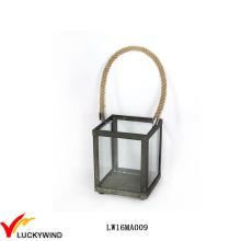 Quadratische Seil Griff Metall und Glas Kerze Laterne