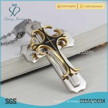 Em estoque multicamadas desenhos pingente cruz, pingentes de aço inoxidável colorido cruz