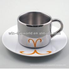 Copos e pires de café de aço inoxidável do presente relativo à promoção por atacado