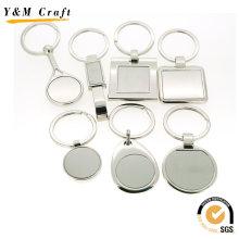 Gros personnalisé blanc métal retanguler porte-clés