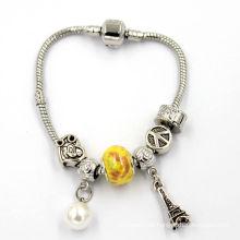 Crystal Charm Silber Schlange Charme Armband Snap Schließe