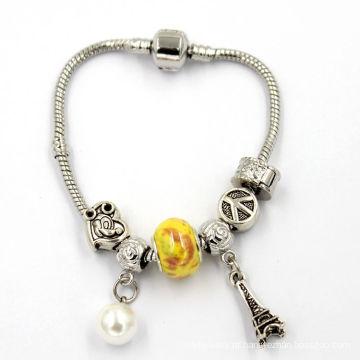 Charme de cristal prata snake charme pulseira snap clasp