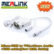 Nouveau câble Mhl Micro-USB vers VGA + Stero Audio + câble USB (YLM-01)