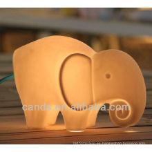 Lámpara de mesa animal de la forma decorativa del elefante de la porcelana