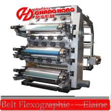 Máquina impressora flexográfica tipo pilha de 8 cores