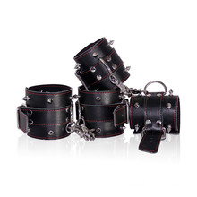 Hot Sale Leather Restraints Foot Hand Cuff Male Bondage Bdsm Sex Toys