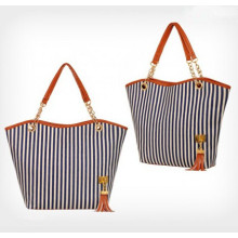 2015 Fashion Women Stripe Canvas Bag (54036)