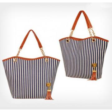 2015 Fashion Women Stripe Canvas Bag (54036)