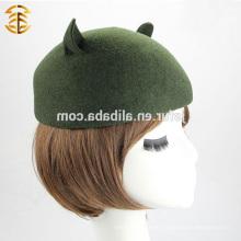 Лучшее качество Fedora Hat 100% австралийская шерсть Felt Fedora Hat с симпатичным ухом кошки