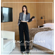 High waist and wide legs suit pants