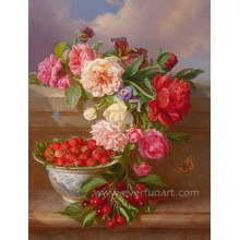 Wholesale Flower Vase Painting Designs on Canvas Wall Picture for Decoration (ECH-119)