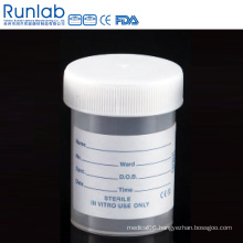 Ce Marked PP 60ml Universal Specimen Containers with Screw Cap and Printed Label