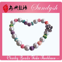 Einzigartige handgemachte Mode Silber Chunky Bead Kinder Halskette