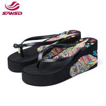 Factory direct sales summer wedge woman beach EVA increased slipper printed flip flop