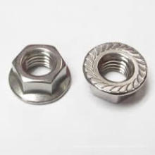 Bule et White Zinc Hex Screw Flange Nuts
