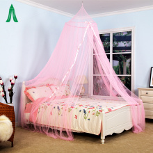 100% Polyester Ribbon Mosquito Nets Pink Circular Canopy