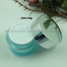Tarro cosmético acrílico de forma ovalada de 50g