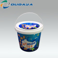 Hot selling customized Round Plastic bucket, Custom Packing Box with Handle and Lid for ice cream freezer IML  container