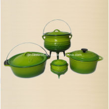 4PCS Cast Iron Cookware Set in Green Color